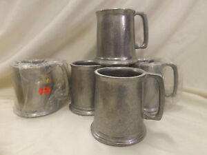 "New, Old Stock Wilton Pewter Metalware Armetale 5 Mugs 3 5/8"""