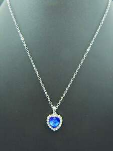 Estate Necklace Cable Chain w/ Sapphire Blue Heart Shaped Rhinestone & Accents