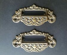 "2 Victorian Antique Style Apothecary Bin Pull Handles w.label holder 4 3/4"" #A7"