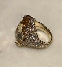 Monoco Ring w/ Cz's Size 7 Nib Judith Ripka 14k Gold Clad 925 Silver Canary
