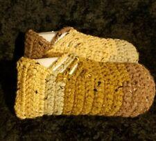 Slippers Crochet Handmade Ballet Size 11 - 13 Natural Hues House Slippers