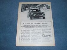 "1963 Citroen DS-19 Vintage Ad ""Who Really Won the Monte Carlo Rally?"""