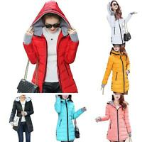 Women Down Cotton Parka Long Fur Collar Hooded Coat Jacket Outerwear HF #O