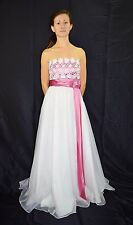 Vintage 70's 80's White Chiffon Formal Gown Wedding Dress Pink Sash - Size S