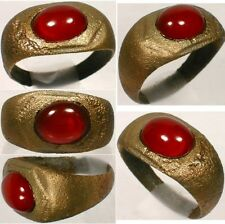 AD300 Roman Pannonia (Hungary) Bronze Ring Sz9¼ Antique 19thC 8ct Carnelian Gem