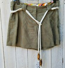 MILLY Shorts Dressy Green Size 6 Plaid Print Cotton Pockets Pleated Front