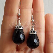 925 Sterling Silver Black Onyx Agate Drop Teardrop Dangle Tibetan Earrings