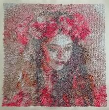 "Embroidered Quilt Block Panel Photo Stitch ""Roses Girl"" Pure Irish Linen Fabric"
