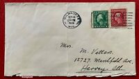 US Stamps SC#344, #408 Imperf. Washington on cover