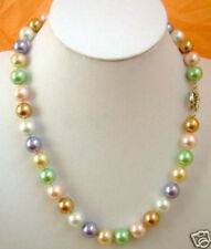 Beautiful 12mm Multicolor South Sea Shell Pearl Round Beads Necklace 18''