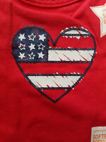 GIRLS INFANT JUMPING BEANS AMERICANA RED HEART SIZE 9 MONTHS SOFT BODYSUIT NWT