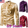 Men's Costume Faux Silk Satin Victorian Gothic Shirt Ruffled Long Sleeve Clothes