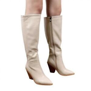Europe Pattern Women's Knee High Boots Western High Heels Chunky Cowboy Shoes L