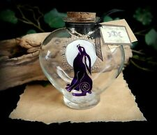 Hand Painted Heart Potion Bottle Moon Gazing Hare design Wiccan Pagan Altar