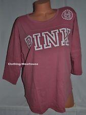 Victoria's Secret PINK VS boyfriend Jersey Begonia White Logo M Medium NEW