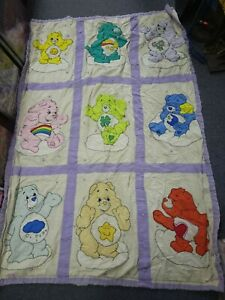Vintage Care Bear Home Made Baby Quilt blanket 39x59