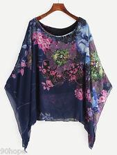 Ladies Flower Print Poncho Oversized Waterfall Chiffon Loose Kimono Top Blouse