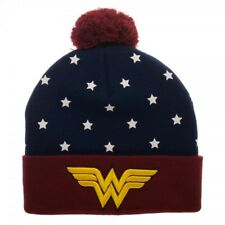 DC Comics Wonder Woman Gold Embroidered Logo Navy Red Pom Knit Cuff Beanie