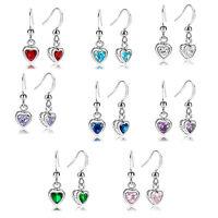 Lady Jewelry Gift Heart Cut Stone White Gold Plated Dangle Drop Earrings
