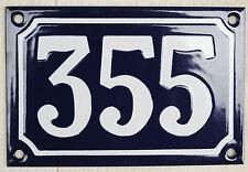 Blue French house number 355 door gate plate plaque enamel steel metal sign