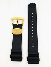 Original SEIKO Diver 22mm SRPC44 Black Rubber Watch Band Strap with Gold Buckle
