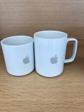 2 set Apple Computer White Mug Gray Logo Coffee Mug 13 & 10. Oz Hasami Cupertino