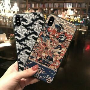 3D Embossed Chinese Pattern Phone Case Dragon Bird Nature Cover for iPhone 12 13