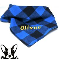 Personalised Embroidered Dog Bandana Black & Blue Check Tie on Large Dog