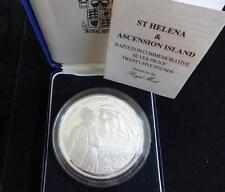 1986 FINE SILVER PROOF 5 oz (environ 141.75 g) ST HELENA £ 25 COIN BOX + COA l'exil de Napoléon R/Comme neuf