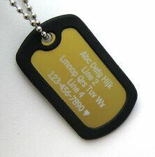 1 PERSONALIZED Dog Tag Necklace VERTICAL Wording - GOLD with Black Silencer