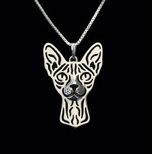 ❤ collar con remolque Sphynx gato pendant, Necklace Sphynx Cat plata