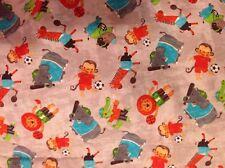 "Fabric Animals Sports 1/2 yard x 42"" wide new 100%cotton JoAnn Fabric multicolor"