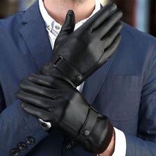 Men's Winter Touch Screen Gloves Warm Windproof PU Leather Fleece Lined Gloves