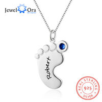 925 Silver Personalized Name Kids Necklace Baby Feet Pendant Chain Mothers Gifts