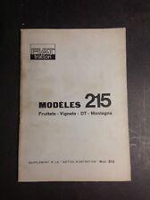 Tracteur - Fiat 215 Supplément - Trattori - Notice - Manuel d'entretien - B17
