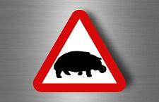 Sticker decal warning car laptop fridge macbook road sign warning hippopotamus