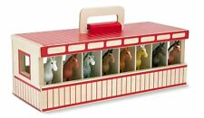 Melissa & Doug Take Along Wooden 8 Show Horse Stable Playset Toy