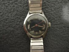 VINTAGE MENS 7J BLACK DIAL MILITARY MILBER HAND WIND WATCH(A-1207)SWISS-SERVICED