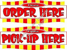 "Order Here Pickup Here 14"" Decal Lettering Food Truck  Concession Sticker"