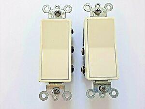 Lot of 2 Leviton Almond Decora 4-Way Rocker Light Switch 15A Quickwire 5604-2A