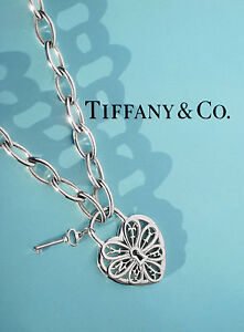 Tiffany & Co Sterling Silver Filigree Heart & Key Oval Link Chain Necklace £885