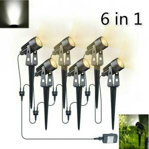 6PC LED Garden Spotlight Mains Powered Path Lawn Outdoor Waterproof Spike Lights