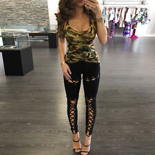 Damen Jeggings Treggings Leggings Röhre Bandage Lace Up Skinny Leggins Punk Hose