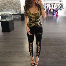 Damen Jeggings Treggings Leggings Röhre Bandage Lace Up Skinny Leggins Punk Hose
