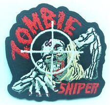 Zombie Sniper Walking Dead Patch Badge Goth Embroidered Iron On Biker Stocking