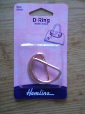 Hemline Metal D Rings 2 Pack- 4 Colours -use for Bags Tiebacks Belts Straps.. 32mm - Rose Gold