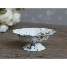 Chic Antique Schälchen auf Fuß Metall Teelichhalter Shabby Vintage creme