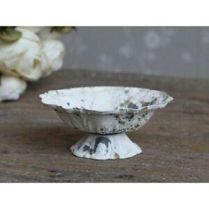 Chic Antique Small Bowl on Base Metal Teelichhalter Shabby Vintage Cream