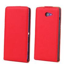 Pochette Rouge Etui Housse Coque Façon Vrai Cuir Flip Case Pour Sony Xperia M2
