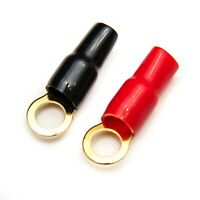 4 GAUGE RING TERMINALS PAIR RED BLACK 4 AWG 2 terminals 3/8 inch - 10mm stud